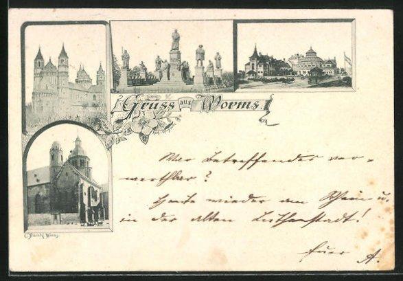 Vorläufer-AK Worms, 1894, Dom St. Peter und weitere Sehenswürdigkeiten der Stadt