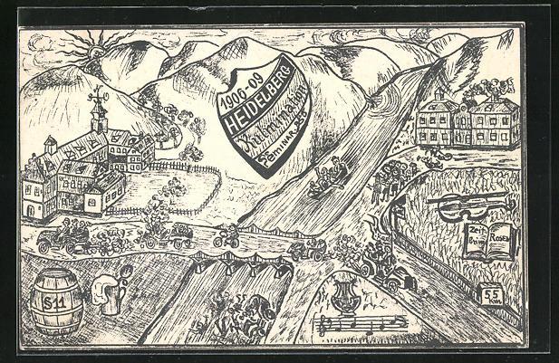 Künstler-AK Heidelberg, Kulmination Seminar 1906-1909, Bootsfahrt auf dem Neckar