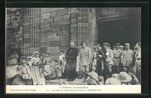 AK Massevaux, La Visite du Généralissime Pétain