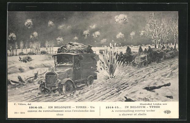 AK Ypres, Un convoi de ravitaillement sous l`avalanche des obus