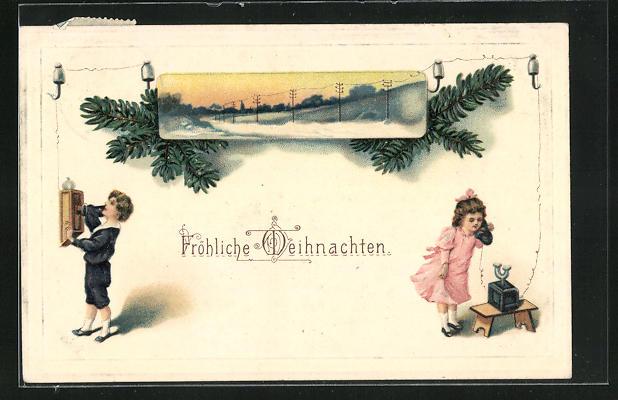 AK Kinder wünschen am Telefon Fröhliche Weihnachten