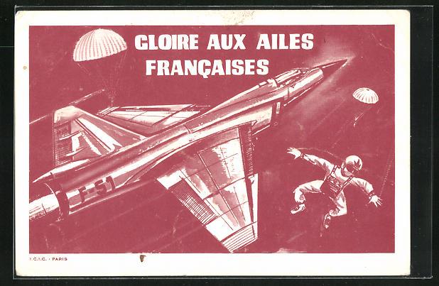 AK Französischer Fallschirmspringer springt aus dem Flugzeug