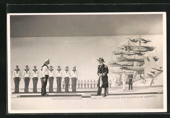 AK Matrosen vor Kriegsschiff, Instruktionsstunde mit Admiral