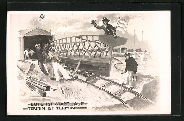 AK Boot beim Stapellauf, Kriegsmarine