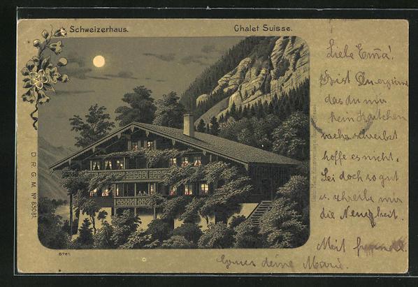 AK Schweiz, Schweizerhaus im Mondschein