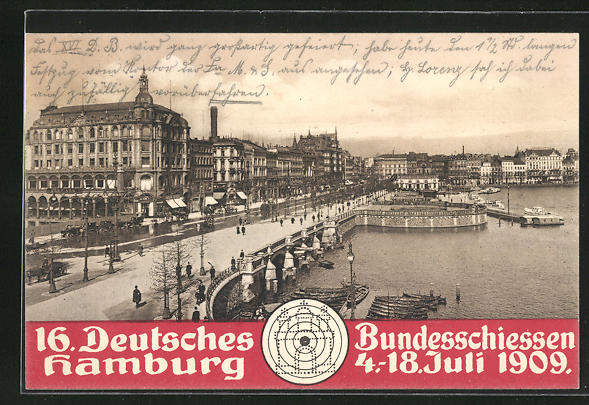 AK Hamburg, 16. Deutsches Bundesschiessen 1909, Partie am Jungfernstieg mit Binnenalster