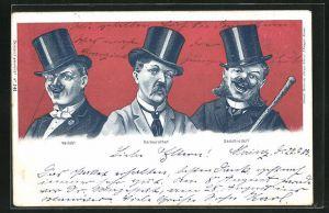 AK Männer mit unterschiedlichen Grimassen, Verlobt, Verheiratet, Geschieden, frauenfeindlicher Humor