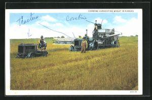 AK Kansas, Combine Harvesting Wheat, Landmaschinen und Traktor auf dem Feld
