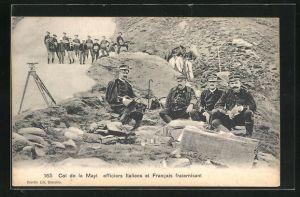 AK Col de la Mayt, Officiers Italiens et Francais fraternisant, Optik