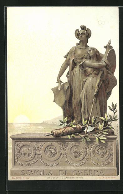 AK italienisches Kriegerdenkmal, Scuola die Guerra mit weiblicher Kriegsfigur Frau schützend, Carlo Eman. I.