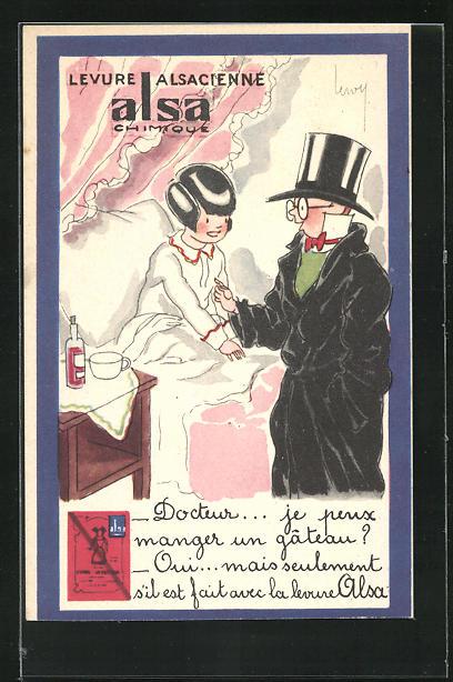 AK Medikament, Levure Alsacienne Alsa Chimique, Junge als Herr verkleidet neben Mädchen im Bett