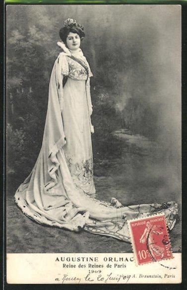 AK Schönheitskönigin, Augustine Orlhac, Reines des Reines de Paris 1909