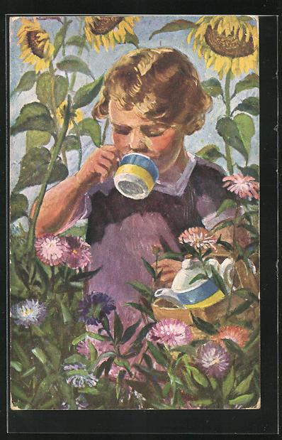 AK Mädchen trinkt zwischen Sonnenblume eine Tasse Kaffee, wie gut Kathreiner schmeckt