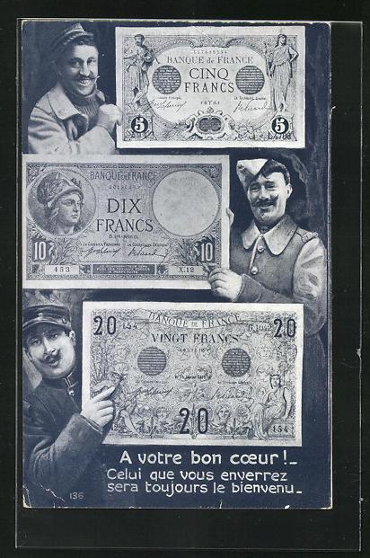 AK französische Kriegsanleihe und Banknoten mit drei Männern in Uniformen