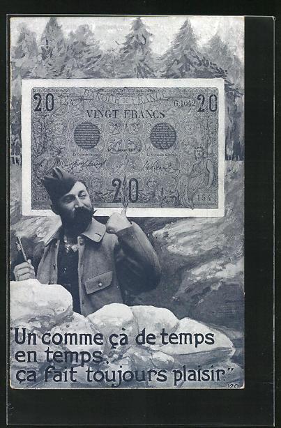 AK Soldat im Graben zeigt auf Banknote, un comme ca de temps en temps ca fait toujours plaisir