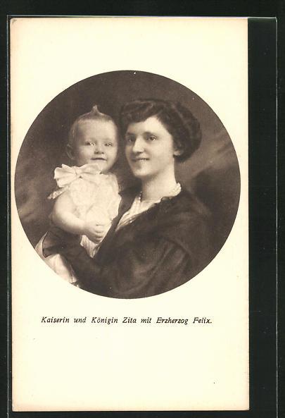 AK Rotes Kreuz Nr. XVII., Kaiserin und Königin Zita mit Erzherzog Felix