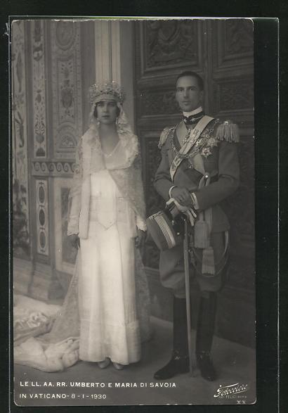 AK Le LL. AA. RR. Umberto e Maria di Savoia in Vaticano 8.1.1903