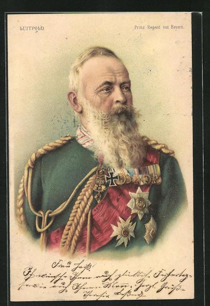Lithographie Prinzregent Luitpold von Bayern in hochdekorierter Uniform