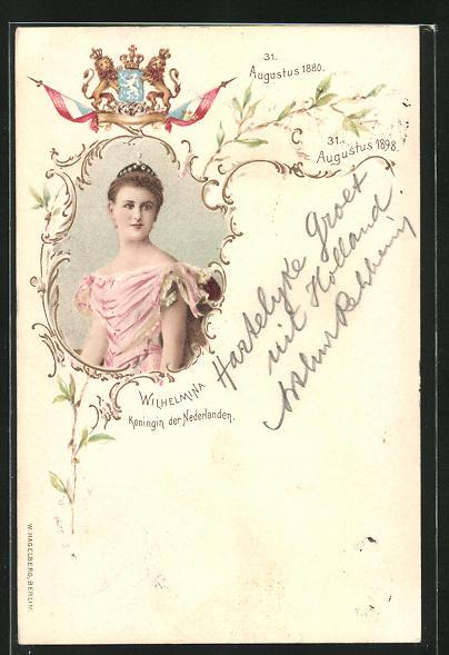 Lithographie Wilhelmina Königin von den Niederlanden, mit Wappen, August 1898
