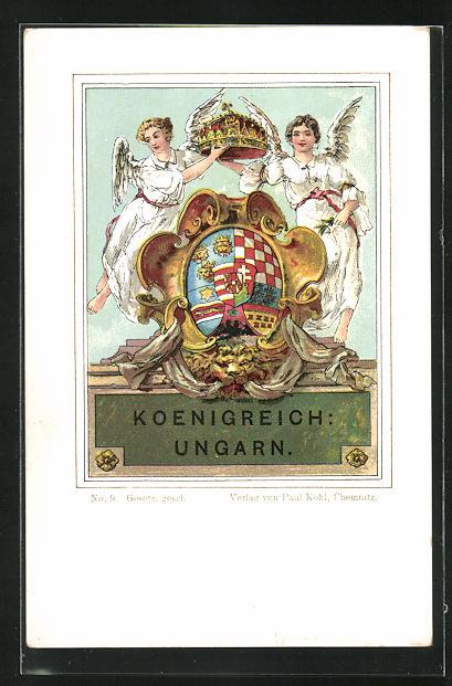 AK Königreich Ungarn, Wappen mit zwei Engeln und Krone