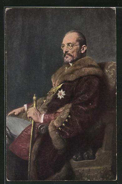 AK Graf Tisza Istvan von Ungarn in Pelzmantel mit Orden