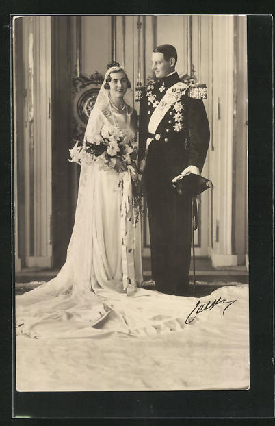 AK Prinz von Schweden nach der Hochzeit mit Braut