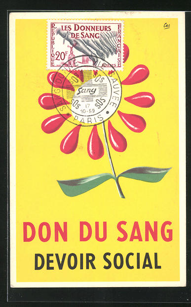 AK Reklame für Blutspende, Don du Sang devoir Social, Blutstropfen als Blume