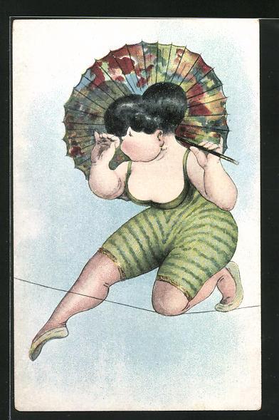 AK Akrobatin auf Hochseil mit Schirm als Karikatur