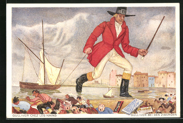 Künstler-AK Schokoladen-Reklame für F. L. Cailler, Szene aus dem Märchen Gulliver bei den Zwergen