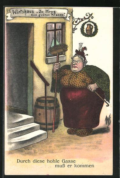 Künstler-AK Willi Scheuermann: Durch diese hohle Gasse muss er kommen, Scherz, Frau erwartet ihren betrunkenen Gatten