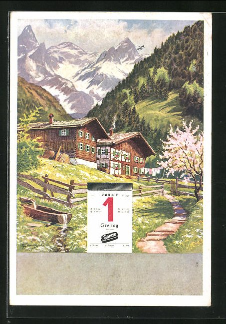 AK Reklame für Sonne-Briketts, Haus in den Bergen