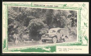 AK Pennington Island Camp, The Camp Truck Crossing the Ford, Lastkraftwagen