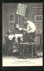 AK Schuhmacher und seine Frau an der Nähmaschine