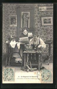 AK Schuhmacher und seine Frau an der Nähmaschine mit Zeitung und Lotterie-Los