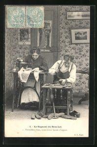 AK Schuhmacher und seine Frau an der Nähmaschine bei der Arbeit