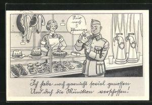 Künstler-AK Ferdinand Barlog: Soldat in Uniform in der Bäckerei