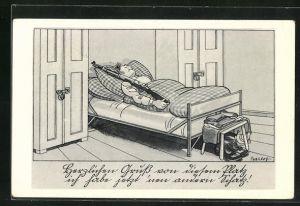 Künstler-AK Ferdinand Barlog: Soldat mit Gewehr liegt im Bett