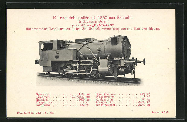 AK Hannover-Linden, Hanomag, B-Tenderlokomotive, gebaut 1917