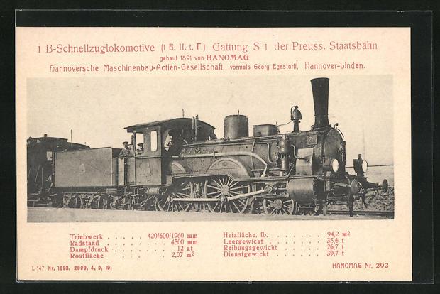 AK Hannover-Linden, Hanomag, 1. B-Schnellzuglokomotive Gattung S 1 der Preuss. Staatsbahn, gebaut 1891