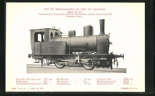 AK Hannover-Linden, Hanomag, 200 PS Werklokomotive