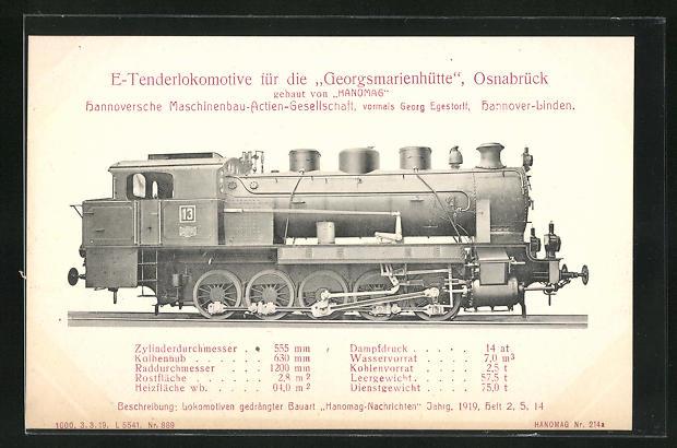 AK Hannover-Linden, Hanomag, E-Tenderlokomotive für die Georgsmarienhütte Osnabrück