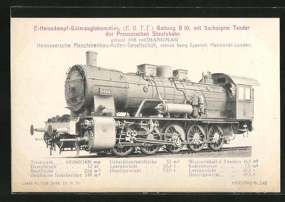 AK Hannover-Linden, Hanomag, E-Heissdampf-Güterzuglokomotive Gattung G 10 der Preussischen Staatsbahn, geb. 1918