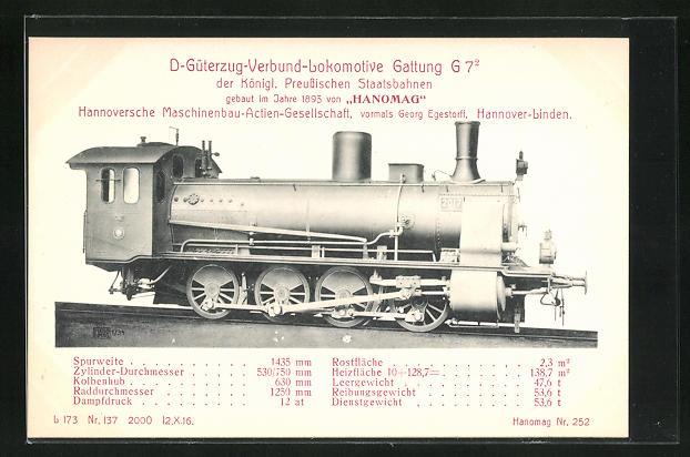 AK Hannover-Linden, Hanomag, D-Güterzug-Verbund-Lokomotive Gattung G7, gebaut im Jahre 1895