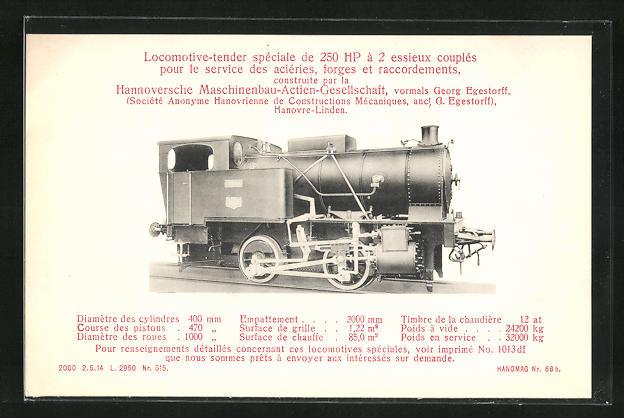AK Hannover-Linden, Hanomag, Locomotive-tender speciale de 250 HP a 2 essieux couples