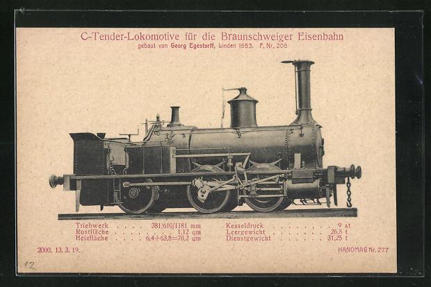 AK Linden, C-Tender-Lokomotive für die Braunschweiger-Eisenbahn, gebaut von Georg Egestorff