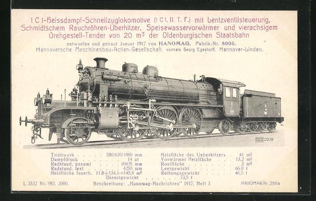 AK Hannover-Linden, Hanomag, C1-Heissdampf-Schnellzuglokomotive mit Lentzventilsteuerung, entworfen und gebaut 1917