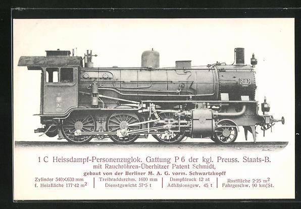AK 1 C Heissdampf-Personenzuglok. Gattung P 6 der kgl. Preuss. Staats-B., Gebaut von der Berliner M. A. G.