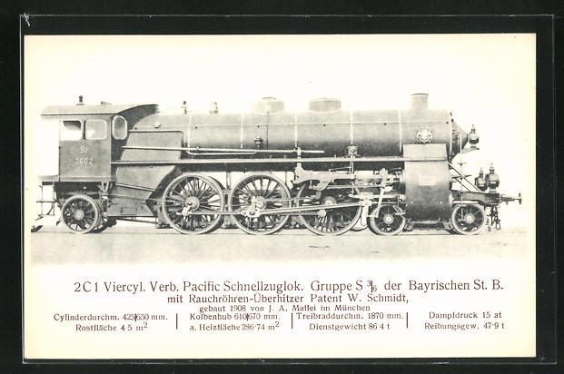 AK München, 2C 1 Viercyl. Verb. Pacific Schnellzuglok, gebaut 1908 von J. A. Maffei
