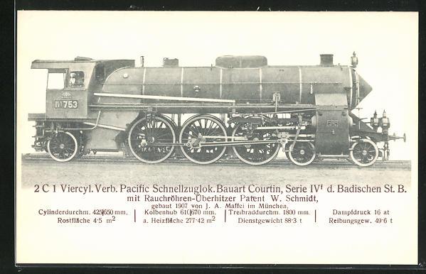 AK München, 2C 1 Viecyl. Verb. Pacific Schnellzuglok., gebaut 1907 von J. A. Maffei