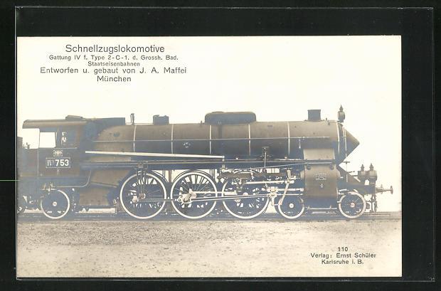 AK München, Schnellzuglokomotive, Entworfen u. gebaut von J. A. Maffei